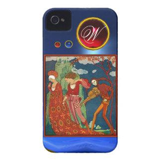 LOVE ,DESIRE AND DEATH RED GEM STONE MONOGRAM iPhone 4 CASES