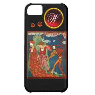 LOVE ,DESIRE AND DEATH RED GEM STONE MONOGRAM iPhone 5C CASES