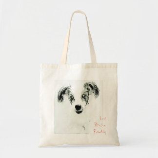 Love, Devotion, Friendship Dog Sketch Tote Bag