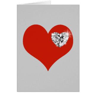 love, diamond red heart card
