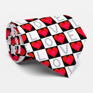 LOVE Diamonds, Checkered Red Hearts - Valentine's Neck Tie