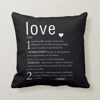 Love Dictionary Definition Valentine Typography Throw Pillow