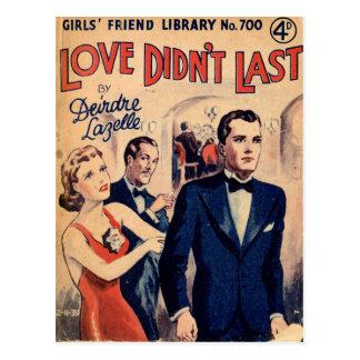 Love Didn't Last vintage romance magazine postcard