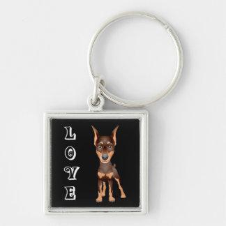 Love Doberman Pinscher Puppy Dog Keychain
