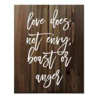 Love does not envy, boast or... Faux Wood   Poster