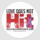 Love Doesn't Hit Classic Round Sticker