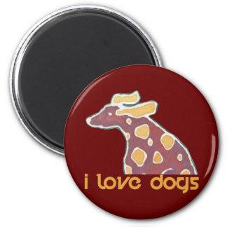 love dog 2 inch round magnet