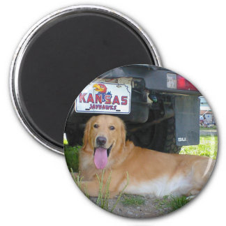 Love dog and camp 2 inch round magnet