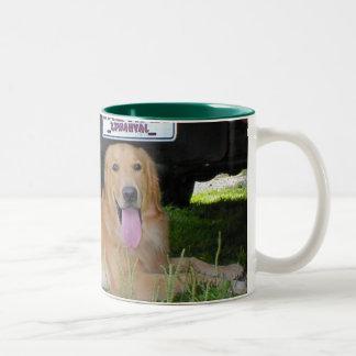 Love dog and camp Two-Tone coffee mug