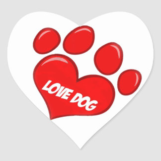 love dog heart sticker