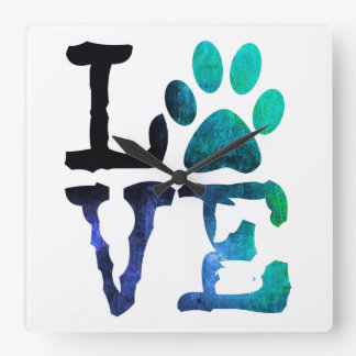 LOVE Dog Paw Print Blue and White Clock