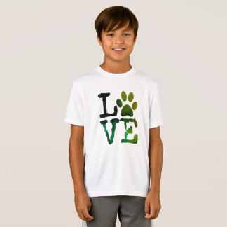 LOVE, Dog Paw Print Kids Shirt