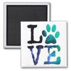 Love, Dog Paw Print Magnet