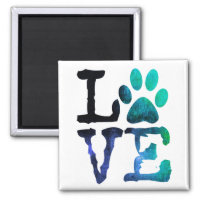 Love, Dog Paw Print Magnet