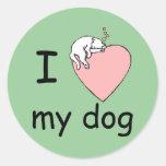 love_dog pegatina redonda