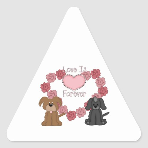 Love Dogs Forever Triangle Sticker