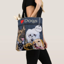 Love Dogs Tote -  5 Dog Breeds - Heart
