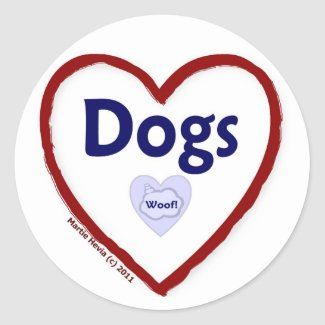 Love Dogs (Woof) Classic Round Sticker