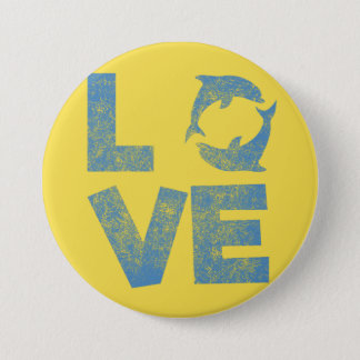LOVE Dolphins T-Shirt Vintage distressed Button
