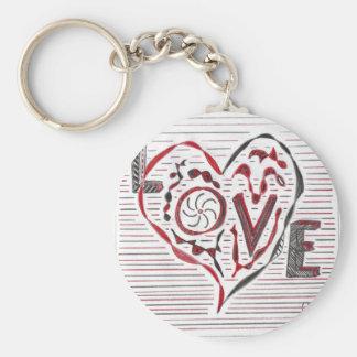 Love Doodle Basic Round Button Keychain