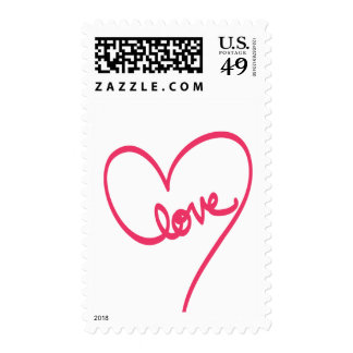 Love Doodle Design with Heart Postage Stamps