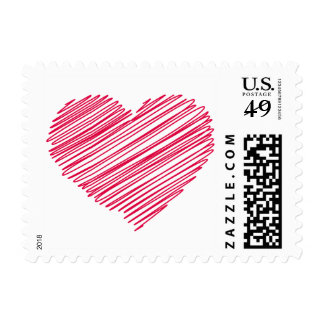 Love Doodle Heart Red Pink Wedding Postage Stamps