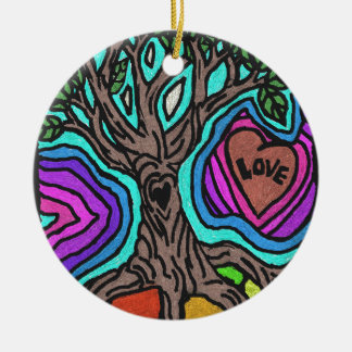 Love doodle tree ceramic ornament
