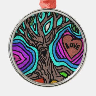 Love doodle tree metal ornament