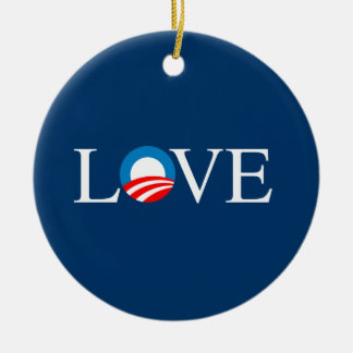 LOVE -- Double-Sided CERAMIC ROUND CHRISTMAS ORNAMENT