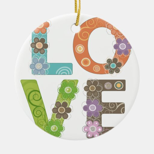 Love Double-Sided Ceramic Round Christmas Ornament