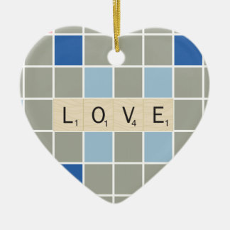 Love Double-Sided Heart Ceramic Christmas Ornament