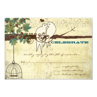 Love Dove Birds Sitting In a Tree Wedding RSVP Card