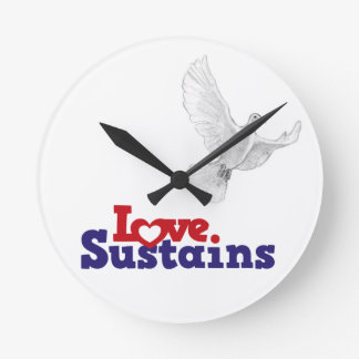LOve Dove Time - Deep Red Round Clocks