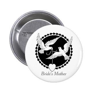 Love Doves Elegant Lesbian Bride's Mother Badge Button