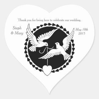 Love Doves Elegant Lesbian Wedding Heart Sticker
