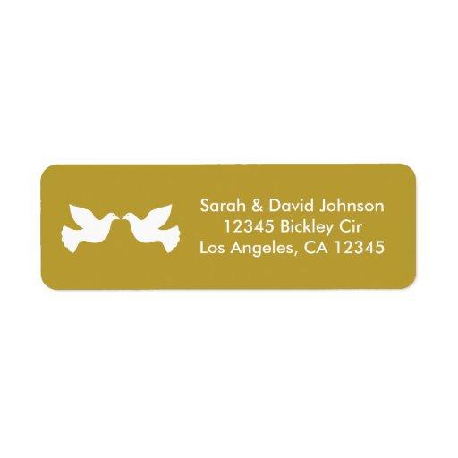 Love Doves (gold rimmed) Return Address Label