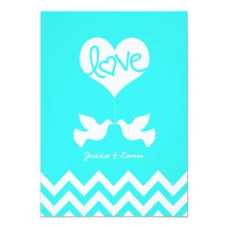 Love Doves Mint Blue with Chevron 5x7 Paper Invitation Card