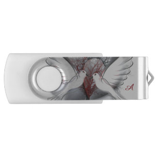 Love Doves Monogram 8 GB Swivel USB Flash Drive