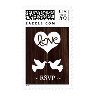 Love Doves RSVP (dark chocolate brown) Postage