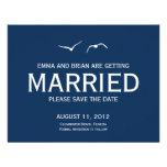 Love Doves Save The Date Announcement - Navy Personalized Announcement