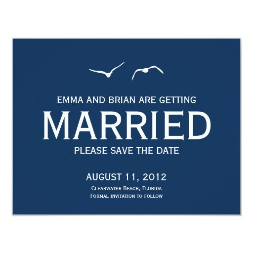 """Love Doves Save The Date Announcement - Navy 4.25"""" X 5.5"""" Invitation Card"""