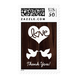 Love Doves Thank You! (dark chocolate brown) Postage