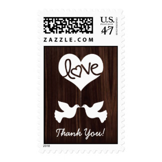 Love Doves Thank You! (dark chocolate brown) Postage Stamp
