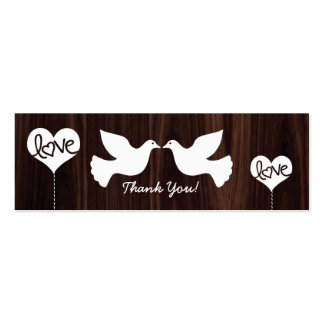 Love Doves Thank You tags (dark chocolate bron) Double-Sided Mini Business Cards (Pack Of 20)