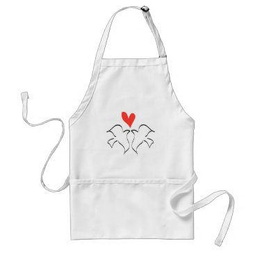 Bride Themed Love Doves Wedding Red Heart Adult Apron