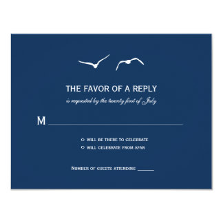 Love Doves Wedding RSVP Cards - Navy