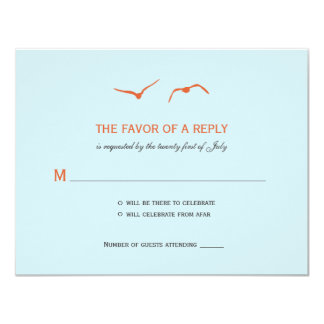 Love Doves Wedding RSVP Cards - Sky Blue