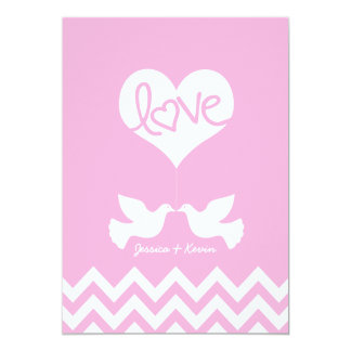 Love Doves with chevron (cotton candy pink) Card