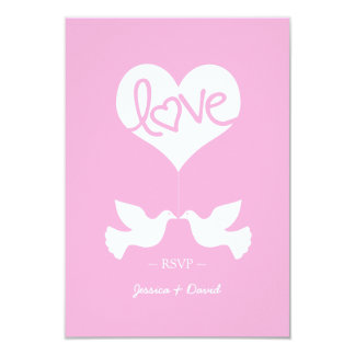 Love Doves with Heart RSVP (cotton candy pink) Card
