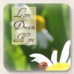 Love, Dream, Hope Ladybug Coaster Set